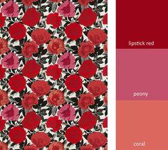 Red Grey Pink Upholstery Fabric Modern Black by PopDecorFabrics