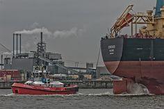Mitgehangen, Mitgefangen… Schlepper bei der Arbeit im Hamburger Hafen.
