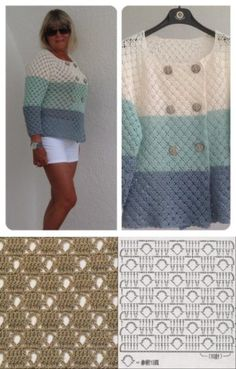 Crochet top pattern for women stitches ideas Crochet Jumper Pattern, Diy Crochet Sweater, Crochet Top Outfit, Crochet Coat, Crochet Jacket, Crochet Blouse, Crochet Clothes, Crochet Patterns, Top Pattern