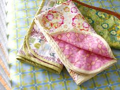 Easy receiving blankets w/ bias binding by Anna Maria Horner (voile and flannel)