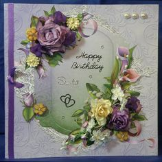 Vintage Roses & Calla Lilies. 8 x 8 boxed decoupaged card. www.therhodaharveycollection.co.uk