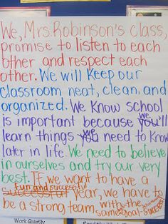 Mrs. Robinson's Classroom Blog: they developed promise after doing the sticky note graffiti posters asking how they want class to be, etc.