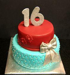 Sweet Sixteen Cake- bottom layer and bow