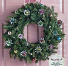 Christmas Wreath made with Vintage Light Reflectors