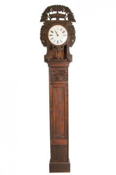 CONTINENTAL NEOCLASSICAL CARVED PINE TALL CASE CLOCK