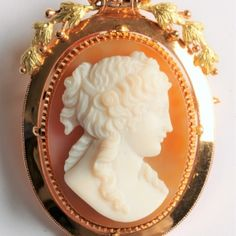 High relief hardstone cameo brooch of a woman in profile to the right, white on pink background.  The brooch can also be worn as a pendant by attaching the removable loop.  34 x 53mm  €2100  www.Osprey.fr Female Profile, Vintage Jewelry, Paris, Jewels, Woman, Pendant, Pink, Montmartre Paris, Jewerly