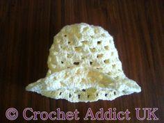 Free Crochet Pattern ~ Daisy Spring Easter Hat 3 - 6 months ~ Crochet Addict UK