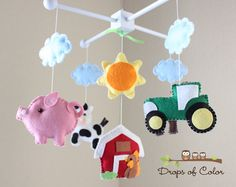 "Baby Crib Mobile - Baby Mobile - Farm Mobile - Nursery Crib Mobile - Cow, Pig, Dog, Rooster, Barn ""Old Macdonald Farm Mobile"" on Etsy, $98.05 AUD"