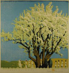 Signed Gustave Baumann Color Woodblock Print Processional No6 75 13x12 75in 1936