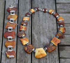 Baltic Amber Handcrafted Necklace and Bracelet + Silver 140 grams