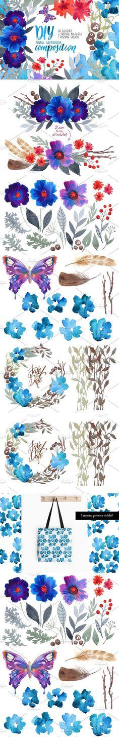 Watercolor floral DIY - 35 elements!. Wedding Card Templates