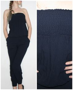 Romper jumpsuit size M/L with long legs summer ,navy, elegant vintage overall Jumpsuits onesie pockets