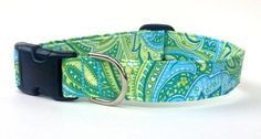 Dog Collar Fresh Mint Paisley  mint blue green by CreatureCollars, $17.00