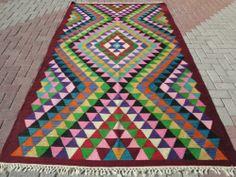 "Anatolia Turkish Antalya (Barak) Kilim 63,7"" x 112,9"" Area Rug Kelim Carpet"