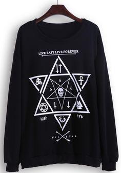 Black Long Sleeve Skull Star Print Sweatshirt #SheInside #LiveFastLiveForever #Sweatshirts