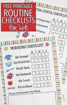 Get into the back to school routine with these free printable checklists! A morning routine checklist to get you out the door and an after school checklist for homework and chores. These free back to school printables will get your organized and ready for Morning Routine Chart, Kids Routine Chart, Morning Routine Kids, Morning Routine Checklist, Morning Routine Printable, Kids Schedule Chart, After School Checklist, After School Routine, Kids Checklist