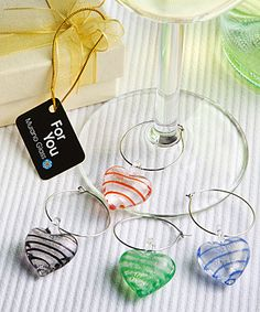 Murano Glass Collection Wine Glass Charms at WeddingFavors.org