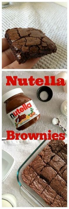 nutella bownies 13oz Nutella 2 eggs 1/2 cup Flour 1/2 tsp baking powder Sea Salt for spinkling 350°F/180° for 25 mins