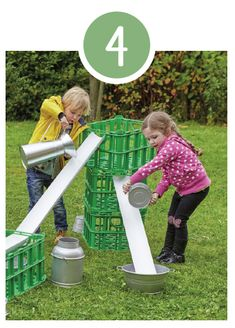 Water channelling These crates are cleverly designed to hold a section of guttering. The children can engineer their own platforms and water systems, offering great creative and scientific learning opportunities. Eyfs Outdoor Area, Outdoor Play Areas, Outdoor Fun, Outdoor Games, Outside Activities, Indoor Activities For Kids, Outdoor Activities, Family Activities, Backyard Play