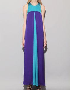 Violet color block maxi dress