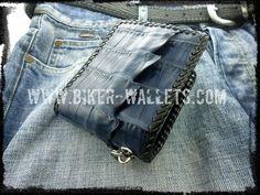 """""""Dr. Evil Blue"""" 5"""" Hand Stitched Custom Handmade Crocodile Men's Biker Wallet"""
