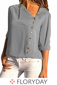 Chiffon Blouse 2018 Fashion Long Sleeve Women Blouses and Tops Skew Collar Solid Office Shirt Casual Tops Blusas Chemise Femme Chiffon Blouses, Shirt Blouses, Chiffon Shirt, Casual Tops, Casual Shirts, Casual Chic, Robes Vintage, The Office Shirts, Long Blouse