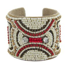 Carnaby Devi Cuff in Vintage Ivory, Lipstick, Sapphire & Cork by Sam DuPont