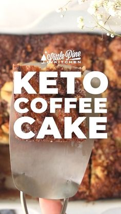 *NEW* This delectable, buttery keto coffee cake will delight your senses and tastebuds. Enjoy it any time of day, no coffee necessary! #lowcarbcoffeecake #ketocoffeecake #lowcarbbreakfast #ketobreakfast #lowcarbbreakfasts #ketobreakfasts #lowcarbbreakfastideas #ketobreakfastideas #lowcarbbread #ketobread #glutenfreebread Whole30 Recipes, Lunch Recipes, Yummy Recipes, Breakfast Recipes, Dessert Recipes, Yummy Food, Low Carb Flour, Low Carb Bread, Low Carb Keto