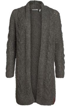 <p>Lang gebreid vest van het merk Moscow in de kleur donker groen. Het vest heeft op de voorzijde en de mouwen een kabel brei.</p>