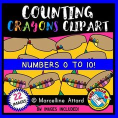 COUNTING CLIPART: COUNTING CRAYONS CLIPART: BACK TO SCHOOL CLIPART ★Click to view this resource! ★