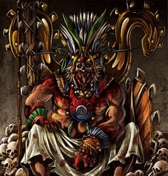 In the Aztec religion, Huitzilopochtli (Classical Nahuatl: Huītzilōpōchtli), is a Mesoamerican deity of war, sun, human sacrifice and the patron of the city of Tenochtitlan. He was also the national god of the Mexicas, also known as Aztecs, of Tenochtitlan.