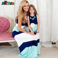 2016 Summer Style Family Matching Outfits mother daughter dresses Contrast Color blue A-Line Dress Ankle-Length mother & kids