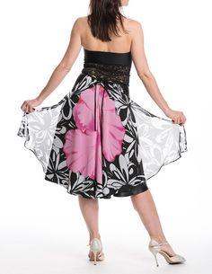Asymmetrical skirt, tango skirt, dance apparel, satin skirt and chiffon accent in the back, back tail, black skirt, tango dress, dance wear