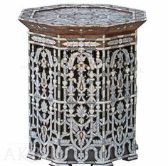 Mother of pearl Moroccan, Syrian and Levantine Furniture - Syrian inlaid table with Mother of pearl.