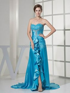 Sheath/Column Sweetheart Elastic Woven Satin Court Train Appliques Prom Dresses
