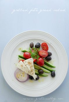 Greek Salad deconstructed by Gratinee. Looks delish (minus the olives for me and add peppers!)