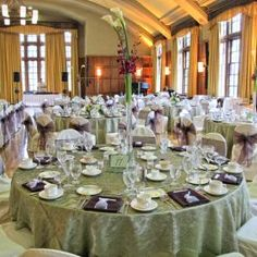 Great color combo, moss and eggplant wedding.