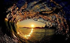 Inside an ocean way at sunset.
