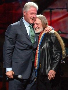 "President Bill Clinton and Willie Nelson during ""Willie Nelson and Friends: Live and Kickin'"" at the Beacon Theatre in New York City on April 9th, 2003."