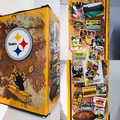 Steelers mini fridge Free shipping Beer Fridge, Mini Fridge, Man Cave Fridges, Custom Wraps, Custom Design, Free Shipping, Creative, Prints