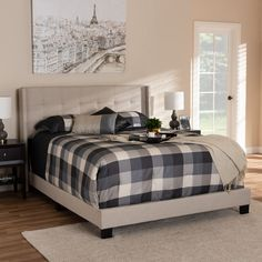 325ee7b3167c Shop Contemporary Fabric Bed by Baxton Studio - Free Shipping Today -  Overstock.com - 24095095 - Beige - King