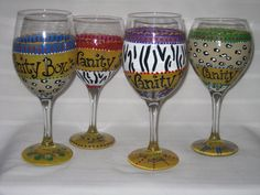 hand painted and custom designed.  glassware is $28 per piece or $25 per for set of two or more.