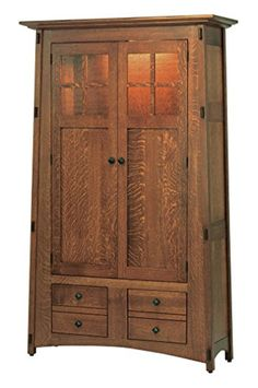 Amish Heirlooms McCoy Solid Oak Wood Bookcase with Clear Glass Doors, 16.5