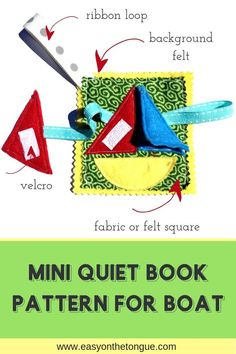 Mini Quiet Book Pattern for Boat quietbook minipages freepattern crafts kidscrafts handmadebook Free Mini Quiet Book Pattern for you to Make the Perfect Gift Book Crafts, Yarn Crafts, Diy Crafts, Adult Crafts, Crafts For Kids, Felt Squares, Quiet Book Patterns, Diy Craft Projects, Craft Ideas
