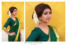 South Indian bride. Temple jewelry. Jhumkis.Green silk kanchipuram sari.Bun with fresh jasmine flowers. Tamil bride. Telugu bride. Kannada bride. Hindu bride. Malayalee bride.Kerala bride.South Indian wedding.