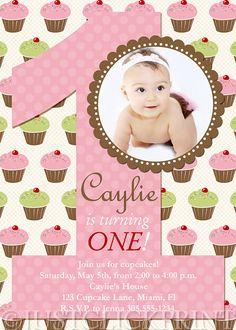 Cupcake themed 1st bday invite