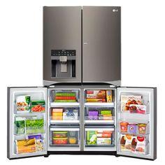 LG Black Stainless Steel Series™ 30CuFt 4-Door French Door Refrigerator with Double Door-In-Door | LPXS30866D