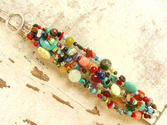 Pulsera multicolor. Pulsera de piedra preciosa Semi por JensBeadBox