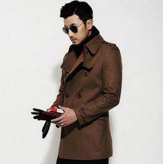 Black brown autumn winter warm Double-breasted wool coat men coat veste homme overcoat men trench coat youth fashion M - 3XL