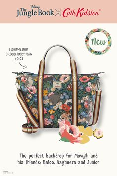 This lightweight cross body is a handy mini version of your favourite foldaway overnight bag. This one is extra special thanks to the limited edition print, starring favourite Jungle Book characters and our trademark florals given a tropical twist. Jungle Boogie, Jungle Flowers, Book Flowers, Cath Kidston, Disney Outfits, Infinite, Crossbody Bag, Product Launch, Range